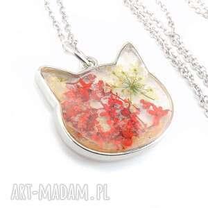 mela art 0895/mela wisiorek z żywicy kot, kwiaty, czerwień, wisiorek, kot
