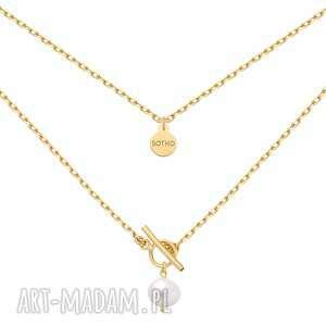 złoty masywny łańcuszek z naturalną perłą - złote naszyjniki
