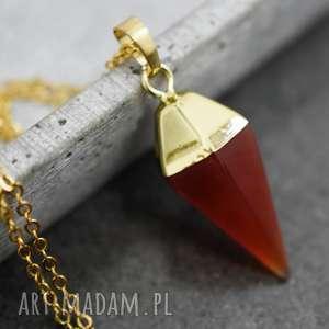 amore agat pozłacany łańcuszek, agat, kamień, zawieszka, czerwona, złoto, złoty