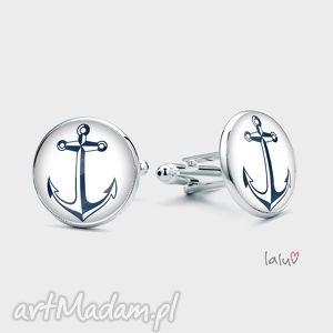 spinki do mankietów kotwica, marynarz, statek, morze, jacht, żagiel, prezent