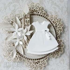 W białej sukni - w pudełku, chrzest, komunia, pamiątka, życzenia, zaproszenie