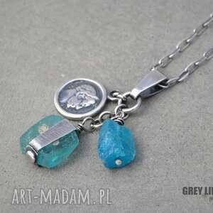 Szkło antyczne i apatyt - wisior, srebro, apatyt, szkło, antyczne, afgańskie