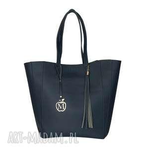 na ramię manzana duża torba klasyczna 2w1 granatowa, duża, torba, 2w1, torebka
