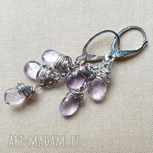 Kolczyki z ametystu i srebra, srebro, oksydowane, lekkie, kobiece, delikatne