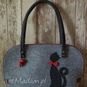 da3ca5faed7d9 czerwone na ramię Filcowa torba z kotem - ,torba,filcowa,kot,torebka ,prezent,