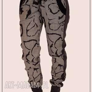 wełniane spodnie z lampasami, floral, pattern, wzór, welna, lampasy
