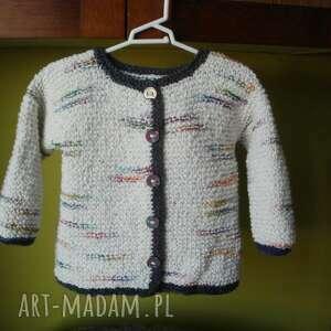 sweterek boucle, rekodzieło, na drutach, włóczka, sweterek, rozpinany