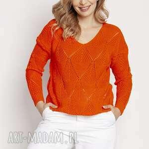 mkm swetry ażurowy pomarańczowy sweterek, swe231 pomarańcz mkm, swetry, sweterek
