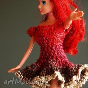 sukienka dla lalki, sukienkadlalalki, sukienkabarbie sukienkaszydełkowa