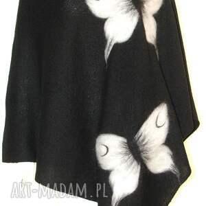 poncho ponczo wełną zdobione, wełna, filcowanie, motyle, prezent, kwiaty