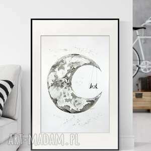 plakaty obraz ręcznie malowany 50x70 cm, abstrakcja, do sypialni, grafika czarno-biała