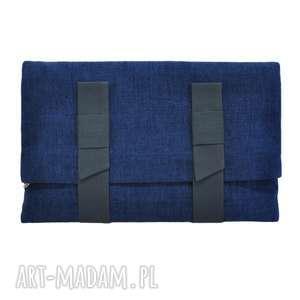 10-0002 Granatowa torebka kopertówka XXL do ręki LARK, torebki-kopertówki