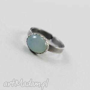 handmade pierścionki agat aqua w srebrze - pierścionek