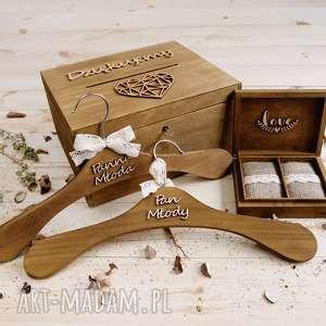 rustykalny zestaw ślubny - pudełko na koperty obrączki wieszaki, ślub