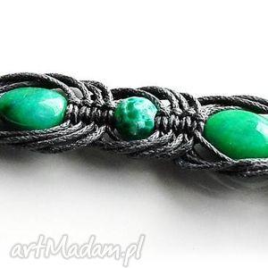 Gray&green- bransoletka makramowa - Ręczne wykonanie