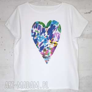 koszulki serce koszulka bawełniana biała l/xl z nadrukiem, koszulka, bluzka, bawełna