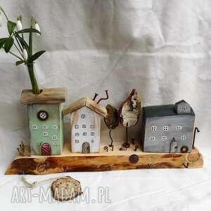 święta, miasteczko wieszak, rustykalny wieszak, domki z drewna, ozdoba do domu