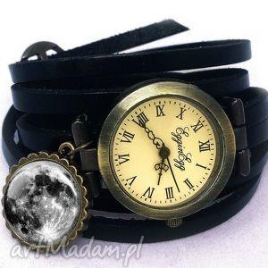 księżyc w pełni - zegarek / bransoletka na skórzanym pasku, zegarek