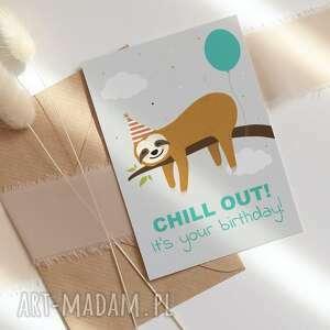 kartki kartka urodzinowa - chill out leniwiec, kartka, okolicznościowa