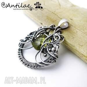 Liin - Kwarc, srebro, wire wrapping, wisior, kwarc, srebro