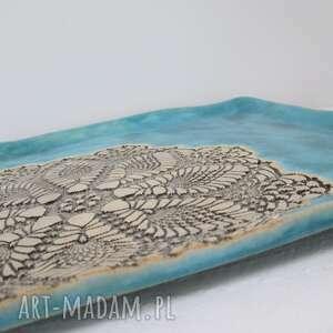 ręcznie wykonane ceramika turkusowa kwadratowa patera z koronką