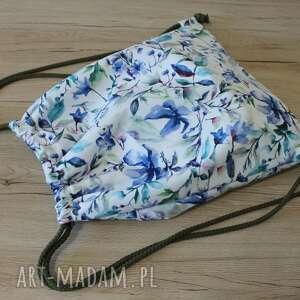 Worek plecak - niebieskie kwiaty torebki niezwykle worek, plecak
