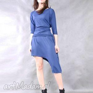 sukienki navy blue, asymetryczna, ekstrawagancka, lużna, wygodna, oryginalna