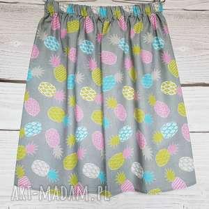 Spódniczka szara w ANANASY , ananas, bawełniana-spódnica, na-lato, w-ananasy, owoce,