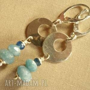 Kolczyki z błękitnego kwarcu i srebra, kwarc, tilia, srebro, delikatne, lekkie