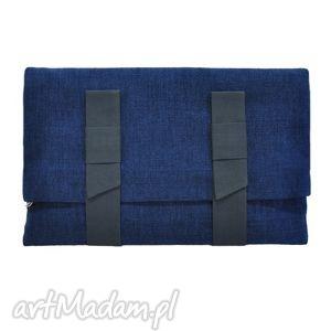 10-0002 granatowa torebka kopertówka xxl do ręki lark, duże, markowe, torebki