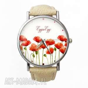Maki - Skórzany zegarek z dużą tarczą , zegarek, maki, kwiaty, polne, cielisty