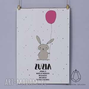 plakat krÓlik z malinowym balonikiem - plakat, krolik, obrazek, pokoju, sciane