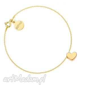 bransoletki złota bransoletka z delikatnym serduszkiem, bransoletka, złota, pozłacana