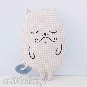 kot przytulaczek szary w kratkę - ,zabawka,kot,kotek,wąs,pluszak,maskotka,