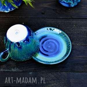 Porcelanowa filiżanka w kolorze niebiesko zielonym handmade
