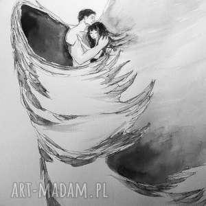 BEZPIECZNA PRZYSTAŃ praca akwarelą i piórkiem artystki plastyka Adriany Laube