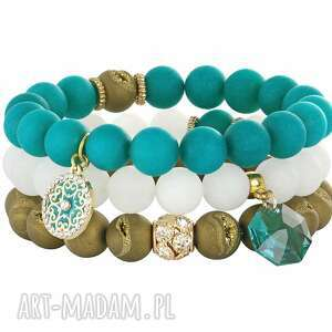 lavoga mat - turquoise white & old gold set - jadeit, agat