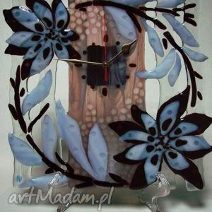 artystyczna kompozycja ze szkła - zegar blask, szklo, kwiaty, zegar, dom