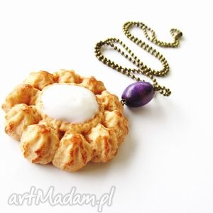 naszyjniki ciastko z kokosowym nadzieniem naszyjnik, modelina, masa