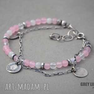 Różowy jadeit, kamień księżycowy i kryształ górski, srebro, kryształ,