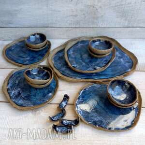 handmade ceramika duży zestaw do sushi dla czworga max