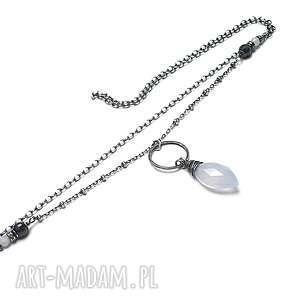 Mgła - naszyjnik, srebro, oksydowane, chalcedony, szafiry