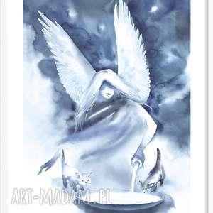 anioł, plakat, aniol, akwarela, druk, kot, reprodukcja