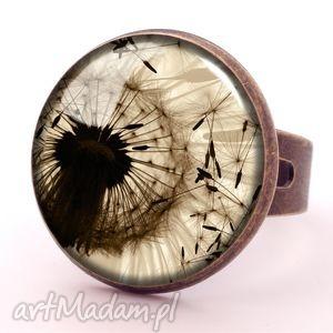 dmuchawiec - pierścionek regulowany, kwiatowy, kobiecy, prezent