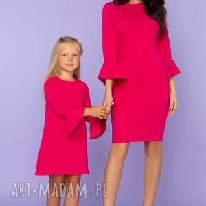 sukienki komplet dla mamy i córki, sukienka z falbanką przy rękawie, model