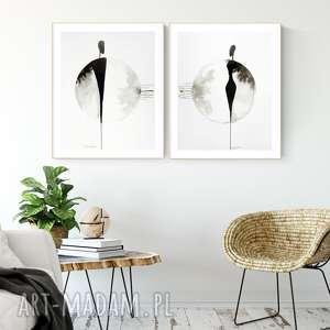 zestaw 2 grafik 40x50 cm wykonanych ręcznie - minimalizm, grafiki do salonu