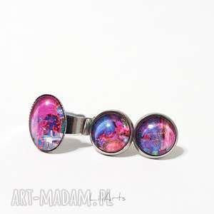 Prezent Komplet - kolczyki mini i pierścionek fuksja, fioletowy, niebieski