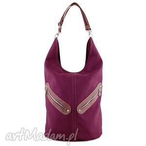 ręcznie wykonane na ramię kofi -duża torba worek - bordowa