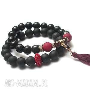 accent point - red-black /25 03 19/ duo, jadeity, black stone, koral, cyrkonia