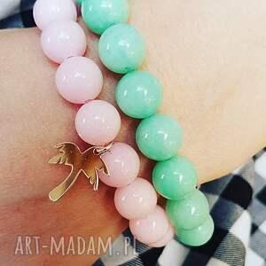 komplet pastelowy z palmą, palma, lato, pastele, charms, srebro, kamienie